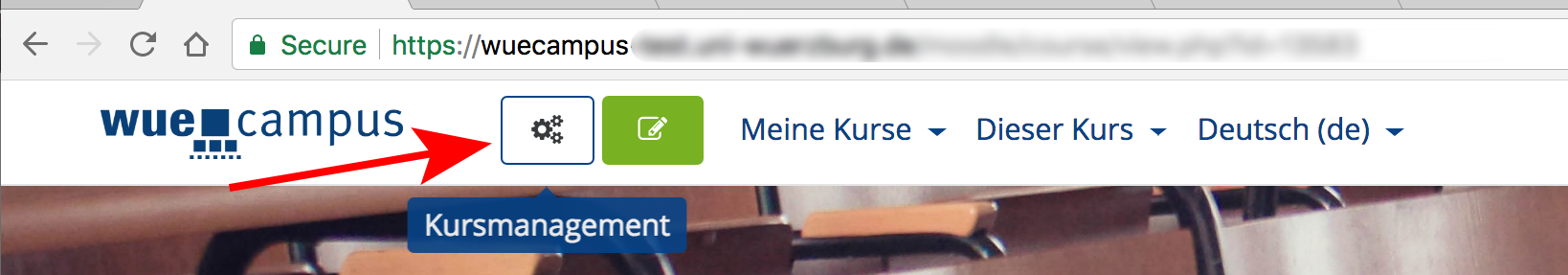 """Kursemanagement""-Button Erklärscreenshot"